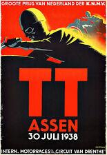 Art Deco TT Assen Motorcycle Motor Bike Race Nederland 1938 l  Poster Print