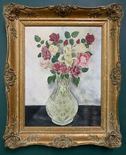 Antique Impressionist Floral Oil On Canvas Painting In Gold Gilt Frame, Signed
