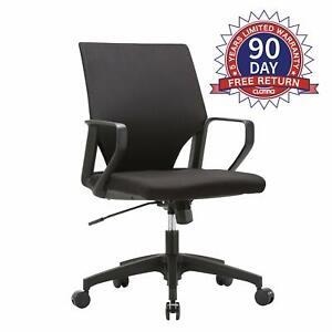 Ergonomic Mid-Back Upholstered Swivel Task Chair Home Office Plastic Arm Rest