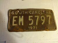 Vintage 1971 South Carolina License Plate Tag - EM 5797 - as purchased