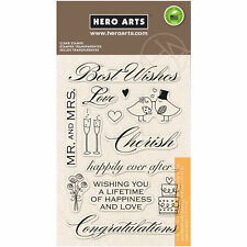 Best Wishes Wedding Sentiments Clear Acrylic Stamp Set by Hero Arts CL360 NEW!