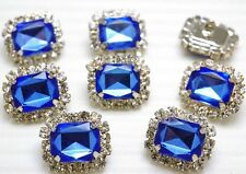 8 Sparkling Clear/Blue Rhinestone Buttons ~Dress/Blouse/Craft #S580