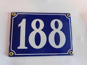 Antique French Blue  Genuine Enamel Porcelain House Door Number Sign / Plate 188
