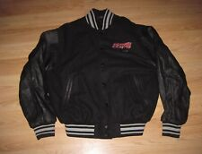 ESPN Black Leather Sleeves Embroidered Letterman Jacket/Free Shipping!
