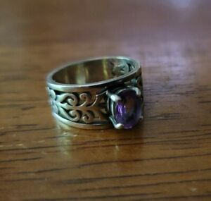 James Avery Size 7.5 Sterling Silver Adoree Swirl Ring Oval Purple Amethyst