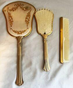 Vintage 3 Piece Vanity Hand Mirror and Brush Kit VG
