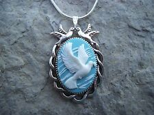 FLYING DOVE CAMEO NECKLACE (white/blue) 925 PLATE CHAIN- PEACE ON EARTH-