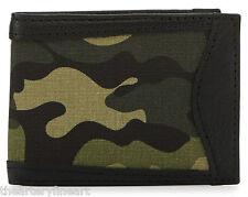 NEIMAN MARCUS Men's Camo Leather Trimmed Bi-Fold Wallet Camouflage Black **NEW**