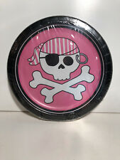 "PINK ~ PIRATE PARTY GIRL PLATES ~ 8 -7"" PLATES"
