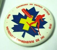 Pinback Pin Button 1978 Vintage CANADIAN SKI PATROL SYSTEM Maple Leaf Skier Logo