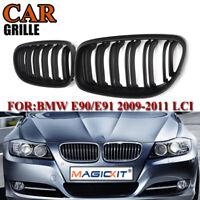 2x Matte Black Dual Line Sport Grilles Grills For BMW E90 E91 3-Series 09-11 LCI