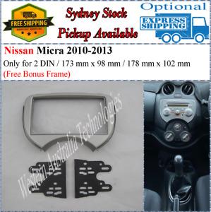 Fascia facia Fits Nissan Micra 2010-2013 Silver Double Two 2 DIN Dash Kit