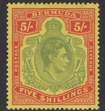 BERMUDA SG118a 1939 5/- PALE GREEN & RED/YELLOW MTD MINT