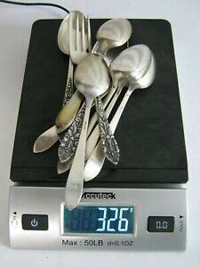 Lot of (8) Spoons (1) Fork Sterling Silver 326g Hallmarked PRL 850 not scrap
