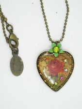 MICHAL NEGRIN JEWELED ROSE HEART PENDANT NECKLACE ~ 18""