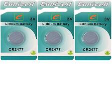 3 x CR2477 3V Lithium Knopfzelle 1050 mAh(3 Blistercards EINZELBLISTER )Eunicell