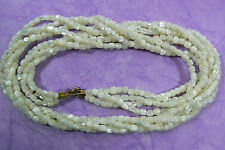 "Gold tone clasp multi 4 strand twisted Mother of Pearl beaded necklace 23.5""L"