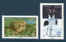 SERVICE 157-158 NEUF * * GOMME ORIGINALE SIGIRIYA ( SRI LANKA ) + GRUES DU JAPON