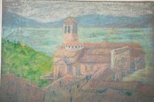 Pastel original,non signé, de Marguerite Dubois, Assise 1937