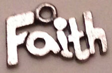 """""""Faith"""" word charm in antique pewter finish"""