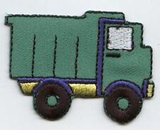 Iron On Embroidered Applique Patch Childrens Blue and Green Dump Truck