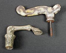 pair of vintage silver cane handles