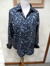 CHAPS-ICON-NAVY/BLUE/WHITE-FLORAL- SHIRT-3/4 SLEEVE-POLKA DOT CUFF-SIZE-PXL-NWT