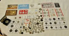 JUNK DRAWER LOT VARIOUS COINS MEDALS BUFFALO V NICKELS SILVER & MORE