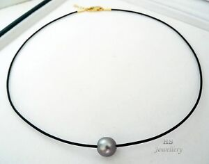 HS Pewter Blue Tahitian Cultured Pearl 10.57X10.48mm & Leather Choker Necklace