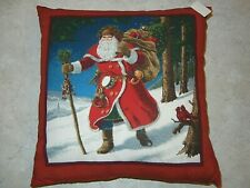 Handmade Accent or Decorative Pillow Featuring Santa and His Pack