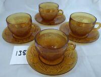 Set of 4 Coffee Cups Saucers Indiana Glass Amber Tiara