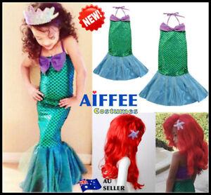 Kids Ariel Little Mermaid Set Girls Princess Dress Party Cosplay Costume + Wig