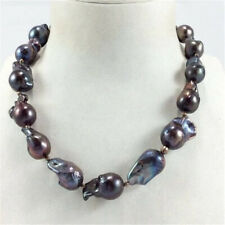 15-18mm south sea baroque black pearl necklace 18 inches Jewelry Personality