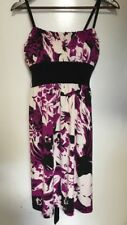 Jonathan Martin Purple Black And White Floral Tie Back Short Maxi Dress Stretch