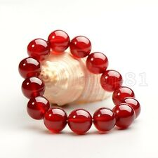 14MM 100% Natural Red JADE Jadeite Round Gemstone Beads Bangle Bracelet