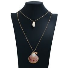 Fashion Women Natural Shell Pendant Clavicle Necklace Chunky Charm Long Chain