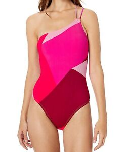 La Blanca Women's Swimwear Pink Size 6 Colorblock Strappy One-Piece $119 #392