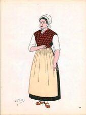 Gravure d'Emile Gallois costume des provinces françaises 1950  Picardie