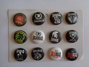 12 Skinhead Button Badges Trojan Skinhead Badge x 12