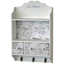 La Maison Floral White Grey Wood Storage Organiser Drawers Shelf Wall Unit Hooks