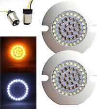 "Eagle Lights 2"" LED Front Turn Signals For Harley Davidson - w/ Pancake Adapters"
