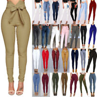 Womens High Waisted Jeans Jeggings Trousers Stretchy Ripped Skinny Long Pants QN