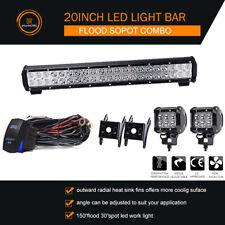 "20INCH LED Light Bar Combo+4"" 18W Fit Jeep Wrangler JK YJ TJ CJ LJ+SWITCH/Wiring"