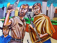 WALKING DEAD PAINTING andrew lincoln norman reedus colt python crossbow zombies