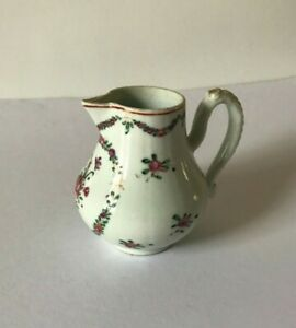 Antique Chinese Export Porcelain  Milk Jug Hand Painted Floral Qianlong Dynasty