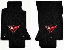 LLOYD Classic Loop™ Black FLOOR MATS Red C5 logo; 1997-2004 Chevrolet Corvette