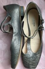 Wm's GIRAUDON Anise Leather Metallic Mary Janes T-Strap Flats/Shoes Sz 36/6.6.M