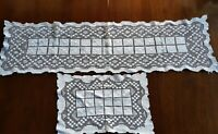 Antique 1940's Sardina Genuine Lacis Filet Knotted TableCloth Runner & Placemat