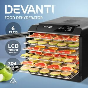 Devanti Food Dehydrators Stainless Steel Jerk Dehydrator Fruit Dryer 6 Trays