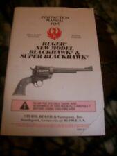 Ruger New Model Blackhawk & Super Blackhawk Instruction Manual